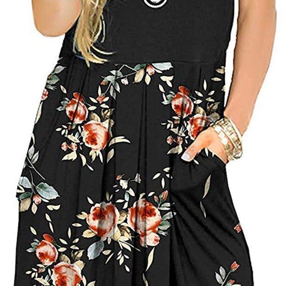 Black Rose Women's Short Sleeve Pleated Loose Swing Casual Dress SD